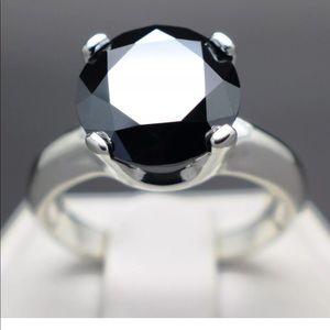 5.27ct Natural Black Diamond Solitaire